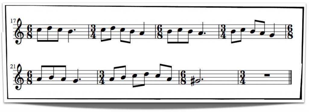 Ejemplo de compás musical