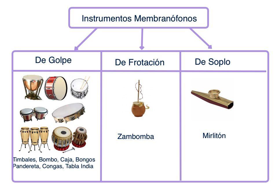 clasificación de instrumentos membranófonos