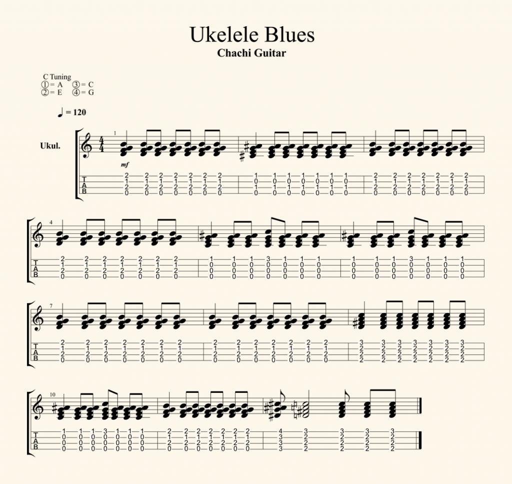 tocar ukelele con partitura